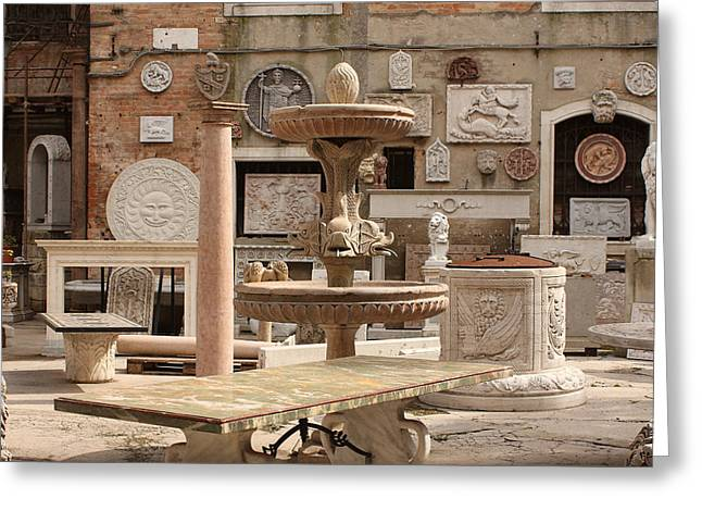 Sculpture Garden In Venice Greeting Card by Michael Henderson