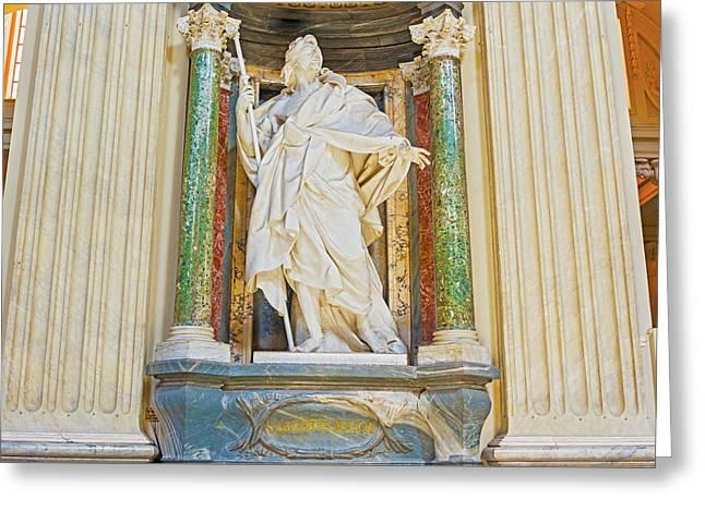 Sculpture In Basilica Of Saint John Lateran In Rome, Italy. Greeting Card by Marek Poplawski