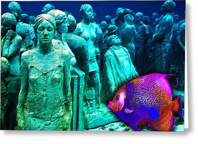 Sculpture Underwater With Bright Fish Painting Musa Greeting Card by Tony Rubino