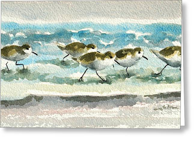 Scurrying Along The Shoreline 2  1-6-16 Greeting Card