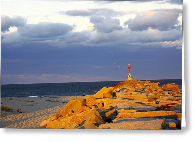 Greeting Card featuring the photograph Scussett Beach Sunset by Greg DeBeck