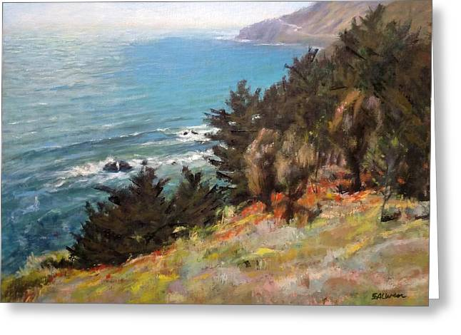 Sea And Pines Near Ragged Point, California Greeting Card by Peter Salwen