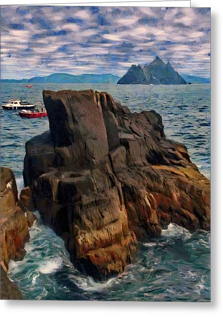 Greeting Card featuring the painting Sea And Stone by Jeff Kolker