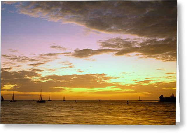Sea At Sunset, Key West, Monroe County Greeting Card by Panoramic Images