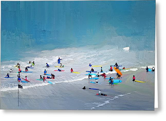 Sea Beach Surfing Greeting Card