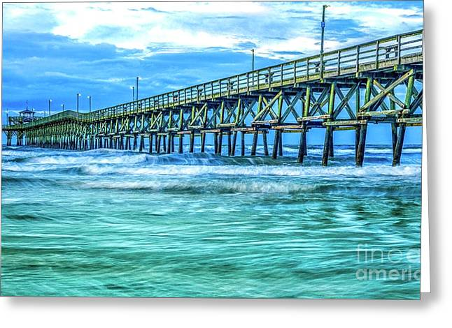 Sea Blue Cherry Grove Pier Greeting Card