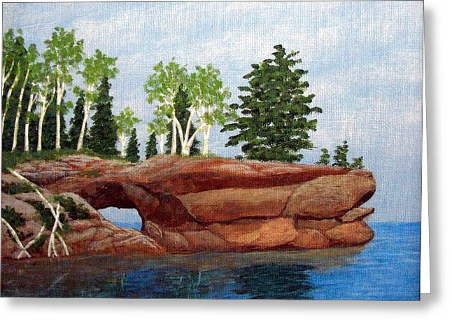 Greeting Card featuring the painting Sea Cave by Frederic Kohli