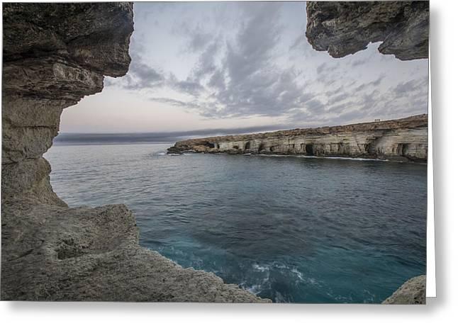 Sea Caves,cape Greko. Mediterranean Sea,cyprus Greeting Card