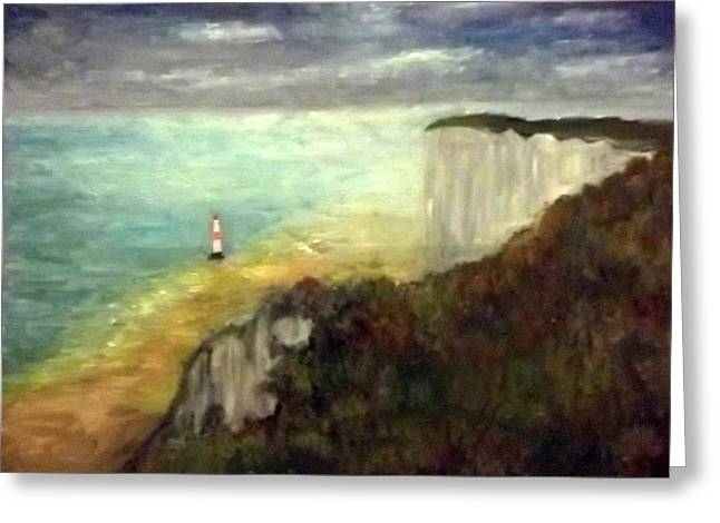 Sea, Cliffs, Beach And Lighthouse Greeting Card