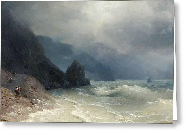 Sea Coast Greeting Card by Ivan Aivazovsky