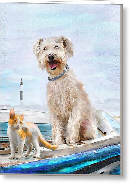 Sea Dog And Cat Greeting Card by Jane Schnetlage