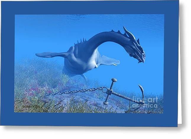 Sea Dragon And Anchor Greeting Card by Corey Ford