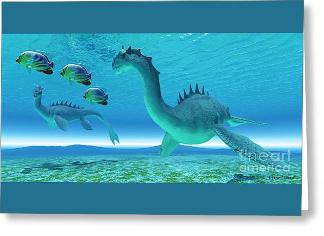 Sea Dragon Fight Greeting Card by Corey Ford
