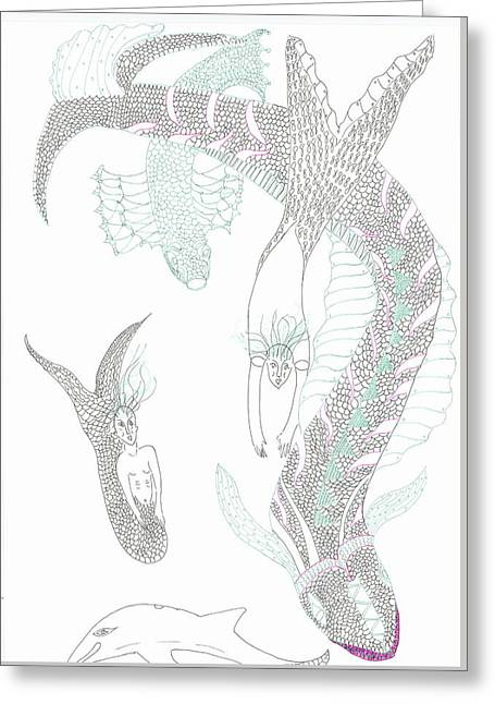 Sea Dragons And Mermaids Greeting Card