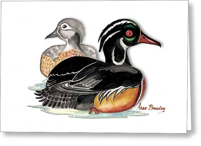Greeting Card featuring the painting Sea Ducks by Anne Beverley-Stamps