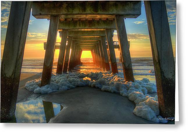 Sea Foam Tybee Island Pier Sunrise Art Greeting Card by Reid Callaway