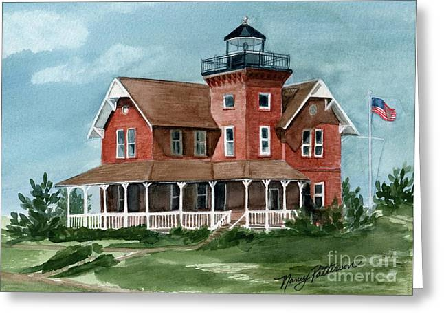 Sea Girt Lighthouse Greeting Card by Nancy Patterson