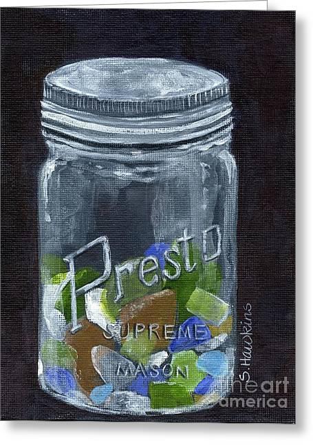 Sea Glass Jar Greeting Card