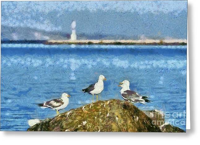 Sea Gulls On Rock Greeting Card