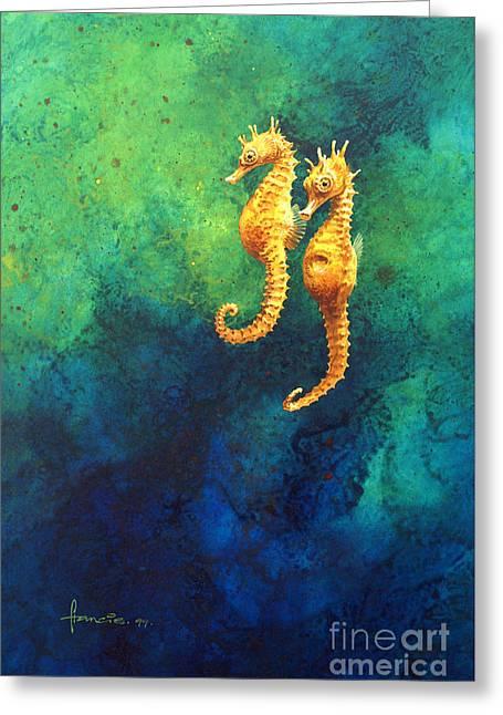 Sea Horses Greeting Card by John Francis