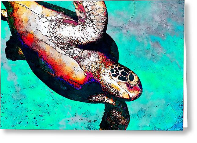 Sea Is My Home - Hawksbill Greeting Card by Stacey Chiew
