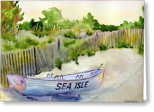Sea Isle Rescue Boat Greeting Card by Paul Temple