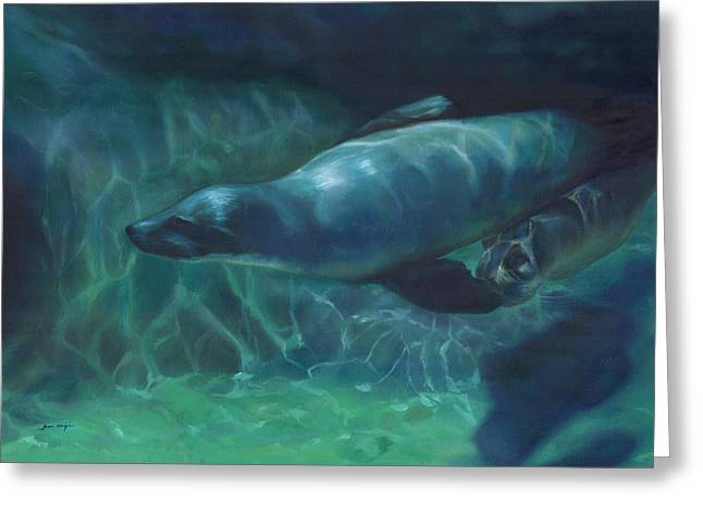 Sea Lion Mother And Baby Greeting Card by Joan Hogan