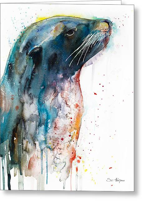 Sea Lion Greeting Card by Slavi Aladjova