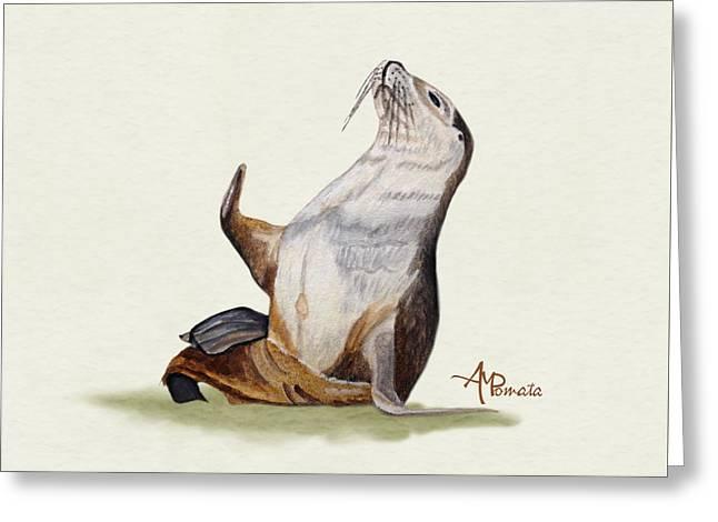 Sea Lion Watercolor II Greeting Card