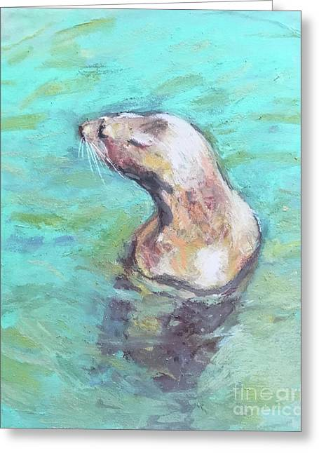 Sea Lion Greeting Card by Yoshiko Mishina