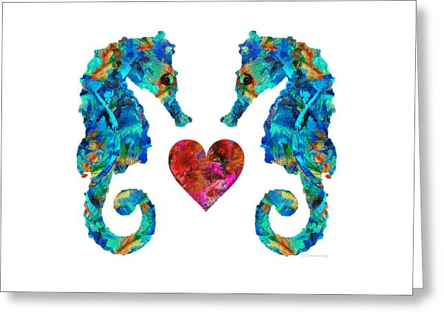 Sea Lovers - Seahorse Beach Art By Sharon Cummings Greeting Card