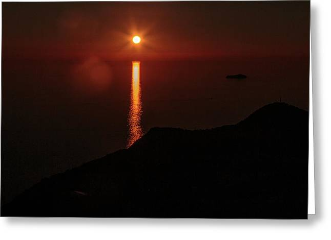 Sea, Mountains, Sunset, Sun Sinking Over The Horizon Greeting Card