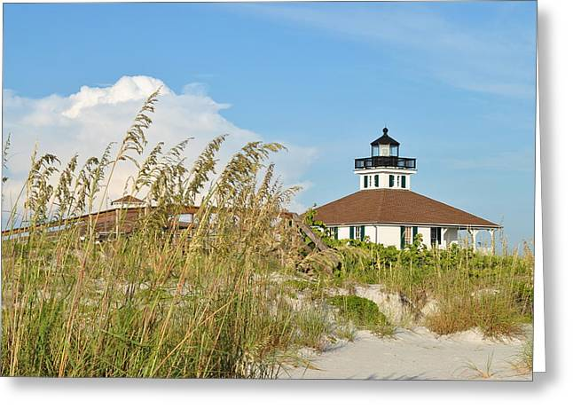 Sea Oats And Lighthouse Greeting Card by Steven Scott
