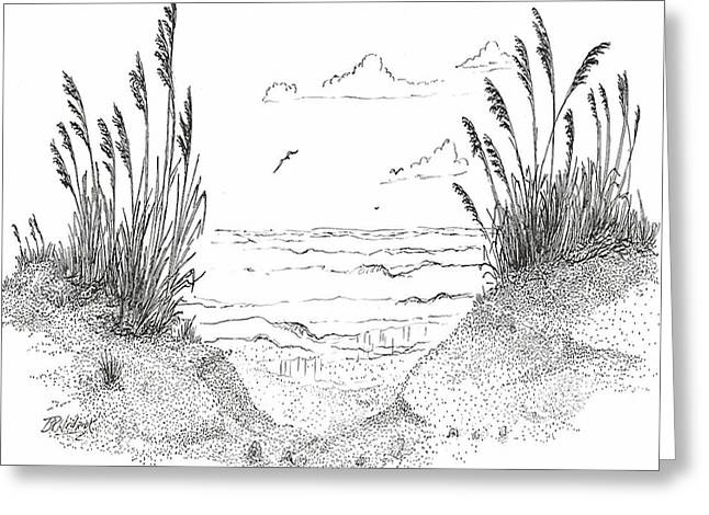 Sea Oats Greeting Card by Barney Hedrick