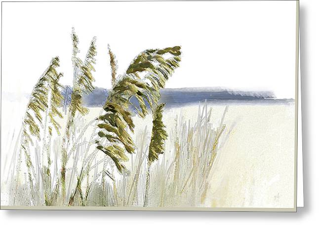 Greeting Card featuring the digital art Sea Oats by Gina Harrison