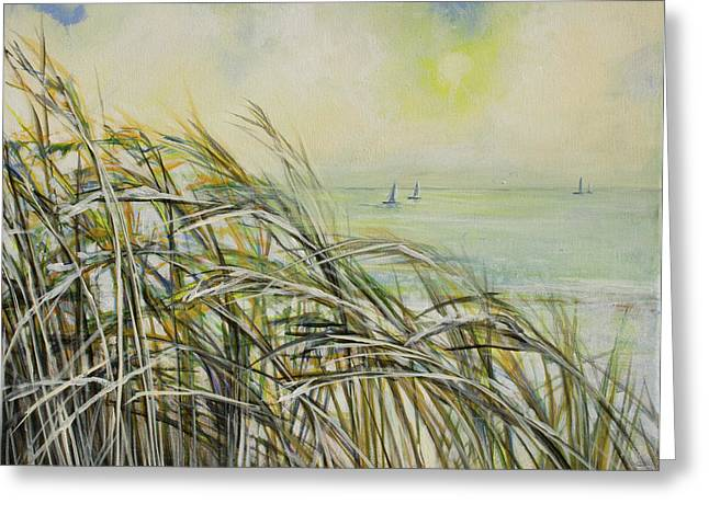 Sea Oats Sailboats Greeting Card by Michele Hollister - for Nancy Asbell