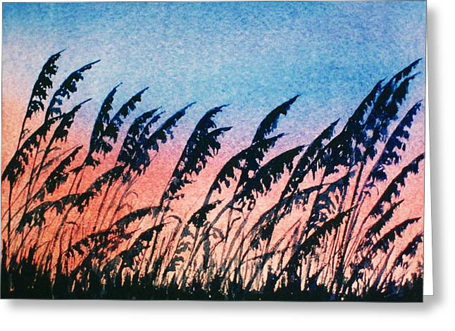 Sea Oats Silouette Greeting Card by Suzanne Krueger
