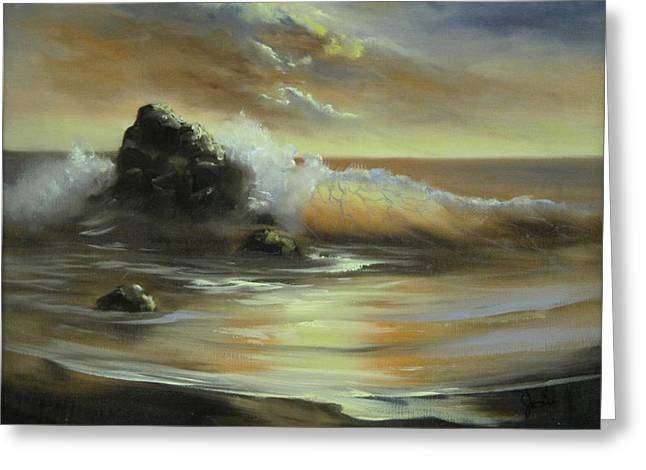 Greeting Card featuring the painting Sea Of Gold by Joni McPherson