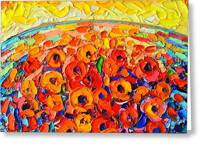 Sea Of Poppies At Sunset - Abstract Palette Knife Oil Painting By Ana Maria Edulescu Greeting Card by Ana Maria Edulescu