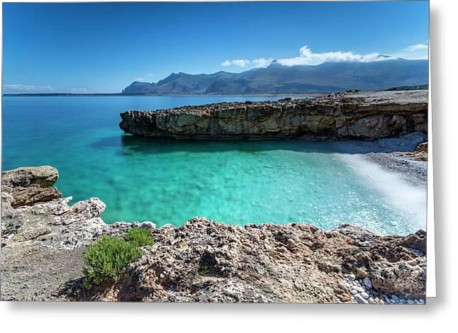 Sea Of Sicily, Macari Greeting Card by Davide Damico