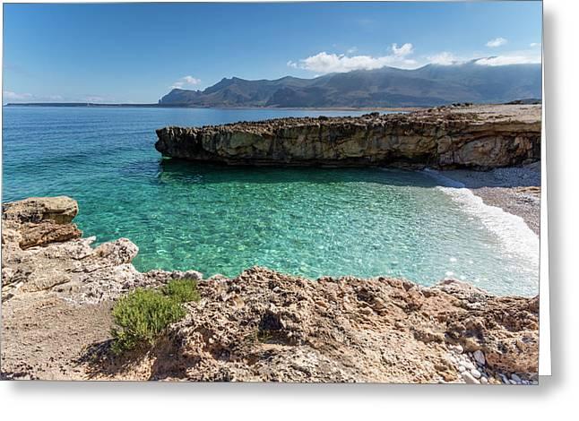 Sea Of Sicily, Macari II Greeting Card by Davide Damico