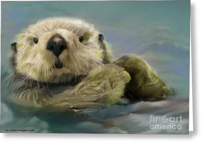Sea Otter Greeting Card by Crispin  Delgado