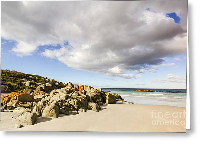 Sea Rocks And Cloudy Sky Greeting Card by Jorgo Photography - Wall Art Gallery