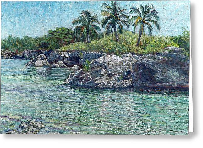 Sea, Rocks And Coconuts Greeting Card