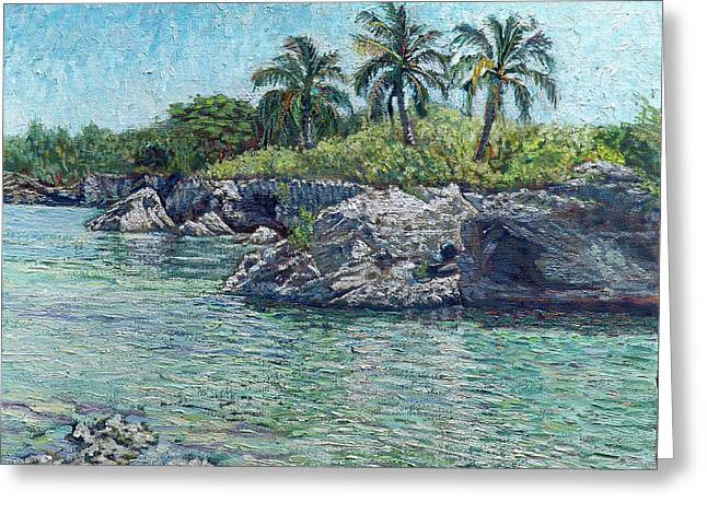 Sea Rocks And Coconuts Greeting Card