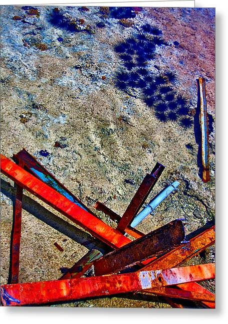 Sea. Rusty Iron And Sea Urchins.  Greeting Card by Andy Za
