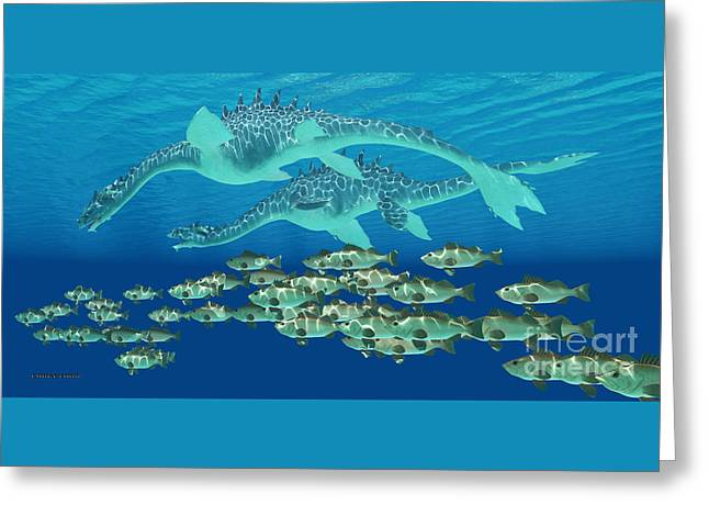 Sea Serpent Chase Greeting Card