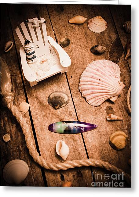Sea Shell Decking Greeting Card by Jorgo Photography - Wall Art Gallery