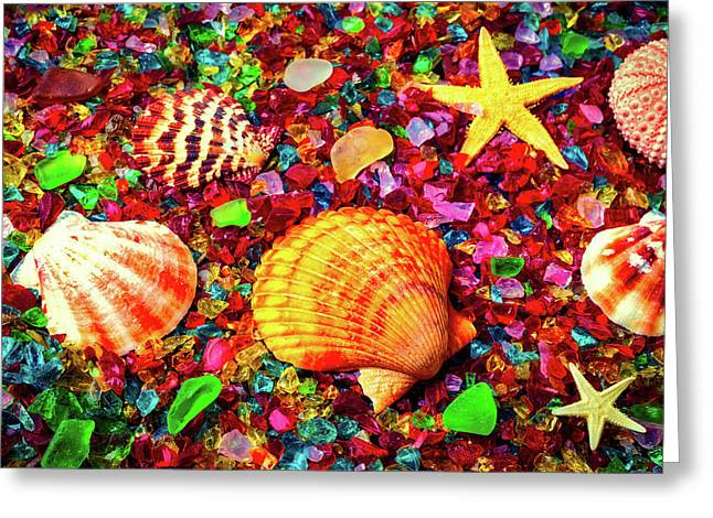 Sea Shells On Sea Glass Greeting Card by Garry Gay