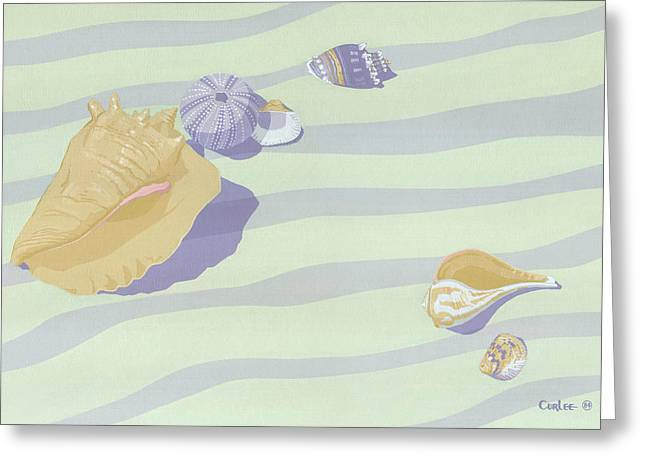 Sea Shells - Seashells - Retro - Pop Art - Beach Decor - Beach Art - 1980s Painting Greeting Card by Walt Curlee